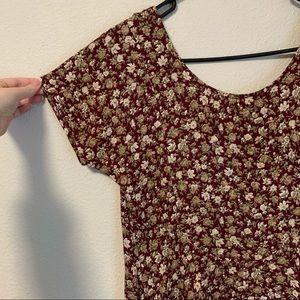 Vintage Burgundy 90's Style Floral Midi Dress